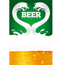 Couple of beer splash with foam creating heart vector