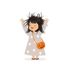 cute little girl in halloween costume standing vector image vector image