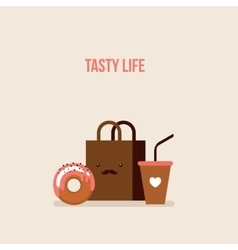 Delicious donut coffee shopping bag online food vector
