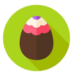 Easter Egg with Wave Ornament Circle Icon vector image