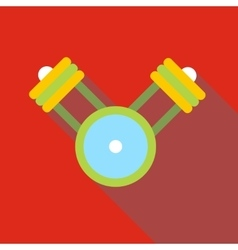 Engine pistons on a crankshaft icon flat style vector