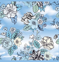 Floral seamless background flower pattern over vector