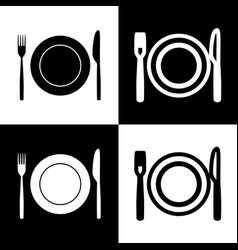 Fork knife and plate sign black and vector
