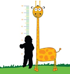 giraffe cartoon with child vector image
