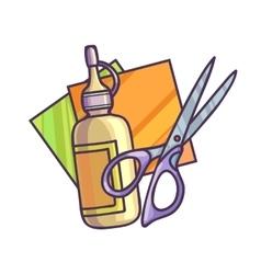 Glue paper and scissors vector