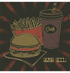 Grunge fast food poster with cheeseburger vector