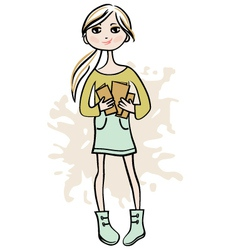 Hand drawn girl with books vector image vector image
