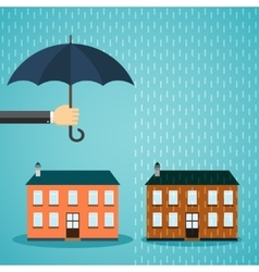 Hand with umbrella protecting house vector image vector image