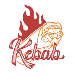 kebab handwritten lettering logo label badge vector image
