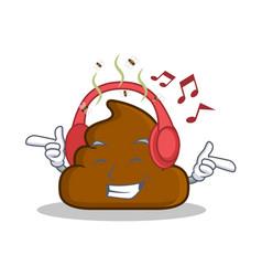 Listening music poop emoticon character cartoon vector