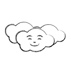 Monochrome sketch caricature of the cloud smiling vector