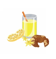 Orange juice and vanilla croissant vector image