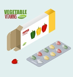 Pepper vitamins Vegetarian pills Tablets in pack vector image