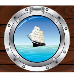 Porthole and tallship vector