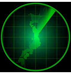 Radar screen with the silhouette of Japan vector image