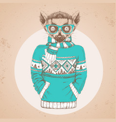Retro hipster animal lemur dressed in pullover vector