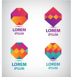 set of abstract colorful geometric logos vector image vector image