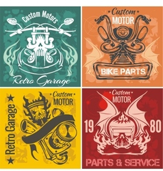 Set of vintage motorcycle labels stpck vector
