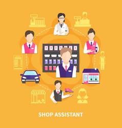 Shop assistant round composition vector