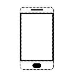smartphone icon in black dotted silhouette on vector image vector image