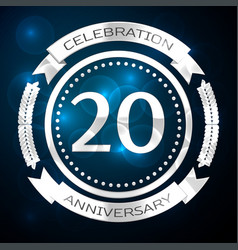 Twenty years anniversary celebration with silver vector