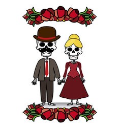 Two skeletons with flowers vector