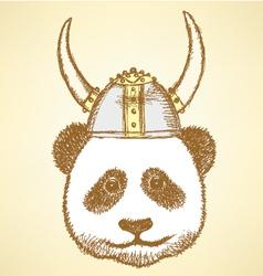Viking Helmet Panda vector image