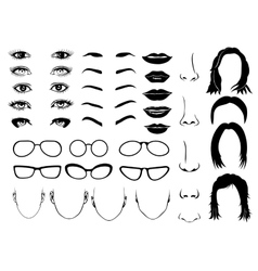 Woman face parts eye glasses lips and hair vector image