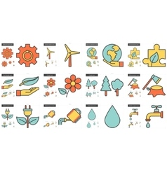 Ecology line icon set vector