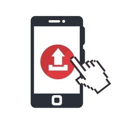Smartphone with arrow upload vector