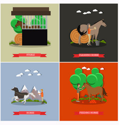 Set of horse riding concept posters in flat vector