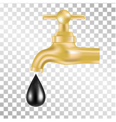 Gold tap with oil drop on transparent background vector