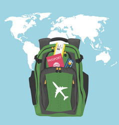 Backpack with passport air ticket and credit card vector