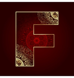 Vintage alphabet with floral swirls letter f vector