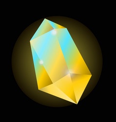Bright yellow crystal that shines with blue color vector