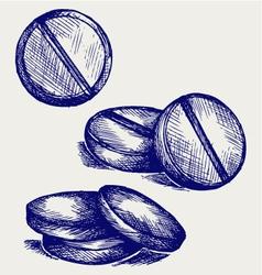 White pills vector image