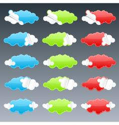 Cloudy peeling stickers vector