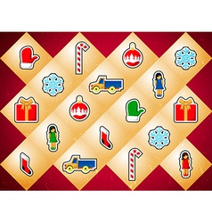 Background with christmas toys vector