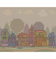 Town houses in a retro style background vector