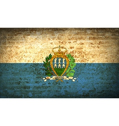Flags san marino with dirty paper texture vector