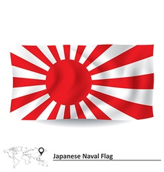 Flag of japanese naval ensign vector