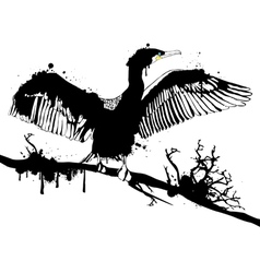 Grunge black hop off cormorant vector