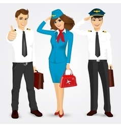 Pilot and two stewardesses in uniform vector