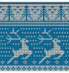 Blue knitted background with the deer vector