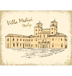 Italian landmark villa medici isolated ink sketch vector