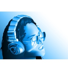 Girl dj with headphones vector