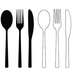Cutlery icon black silhouettes vector