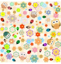 Seamless flower and owl background pattern vector