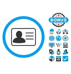 Account card flat icon with bonus vector