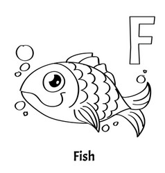 alphabet letter f coloring page fish vector image